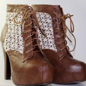 Charlotte Russe Brown Heels w/ Lace Detail